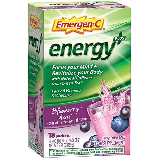 Emergen-C Energy+ (18 Count, Blueberry-Acai Flavor) Dietary Supplement